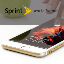 photo of iphone promoting Sprint wireless rewards with logo and link.